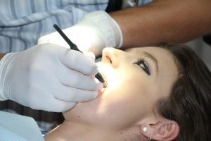 woman getting ready for dental work