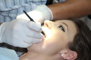 woman getting ready for dental work