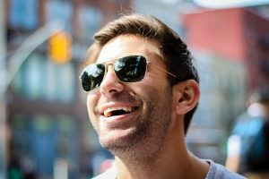 happy person in sun glasses